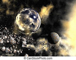 digital rendering of a space scene