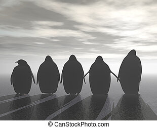 penguins - digital rendering of penguins on ice