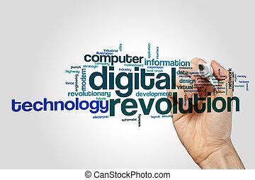 Digital revolution word cloud concept on grey background
