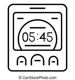 Digital room clock icon, outline style