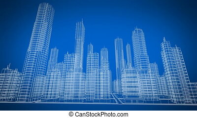 Digital Rotating Blueprint of Modern Buildings. Blue color....