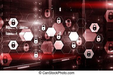 digital, säkerhet, rum, skydd, kugge, servare, data, concept.
