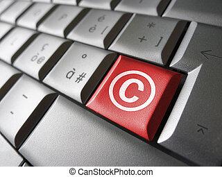 digital, símbolo de derecho de autor, llave
