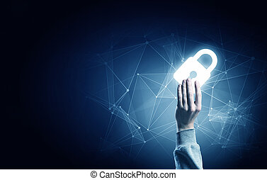 Hand of businessman on dark background with security glowing sign