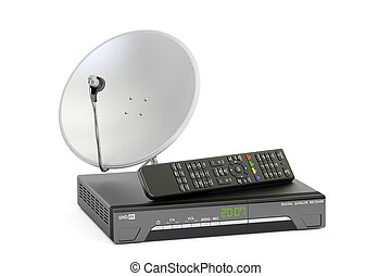 Digital satellite receiver with satellite dish, telecommunications concept. 3D rendering