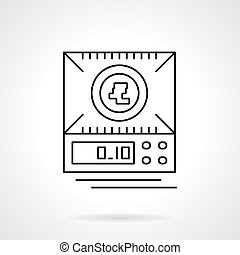 Digital scales flat thin line vector icon - A top view of...