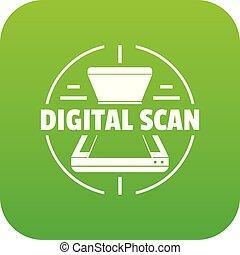 Digital scan icon green vector