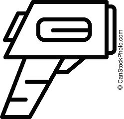 Digital scan thermometer icon, outline style