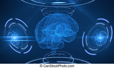 Digital scanning of the human brain. Abstract background with plexus, hud. Loop animation