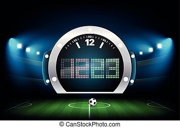 Digital scoreboard with stadium background. Vector...
