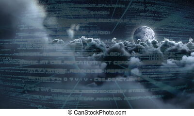 Digital screen against the clouds at night