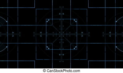 digital screen - Blue lines, arrows, circles - moving and...