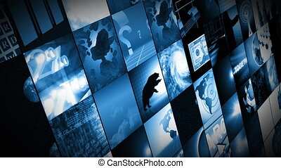 Animation of digital screens showing business and world in high definition. Concept of worldwide communication