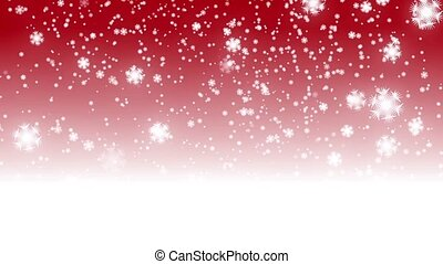 digital seamless loop christmas red background with white bokeh and stars snow falling holiday xmas
