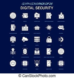 Digital Security White icon over Blue background. 25 Icon Pack