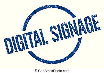 digital signage stamp - digital signage blue round stamp
