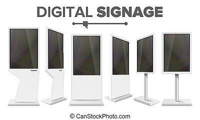 Digital Signage Touch Kiosk Set Vector. Display Monitor....