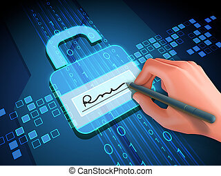 Digital signature and lock - Digital signature grants access...
