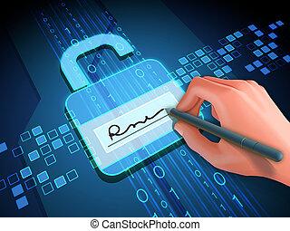 Digital signature and lock
