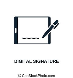 Digital Signature icon. Monochrome style design from blockchain icon collection. UI and UX. Pixel perfect digital signature icon. For web design, apps, software, print usage.