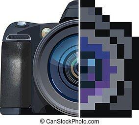 vector illustration of Reflex camera. Half is photo real, half is pixel art stylized.
