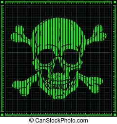 Digital Skull on Dark Background