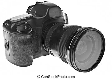 Digital Single Lens Reflex Camera Isolated on White.