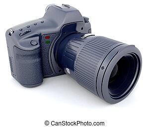 Digital SLR Camera with Telephoto Zoom Lense - 3D Render of...