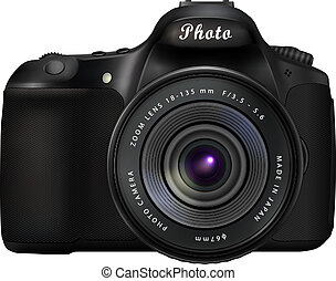 Digital SLR Photo Camera - Modern black digital single-lens...