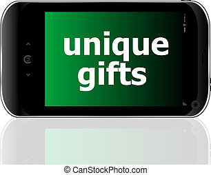 digital smartphone with unique gifts words, holiday concept