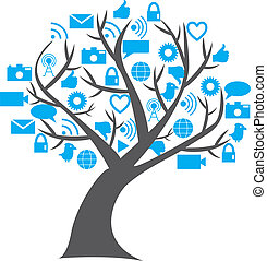 Digital social media tree with leafs replaced by social...