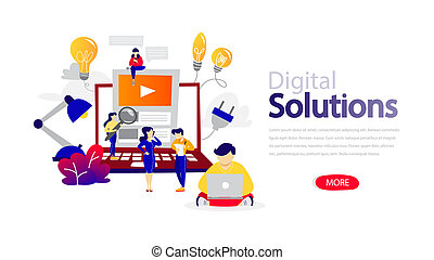 Digital solutions horizontal flat banner for website