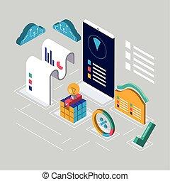 digital solutions smartphone cloud storage data isometric
