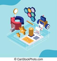 digital solutions transaction data financial report isometric