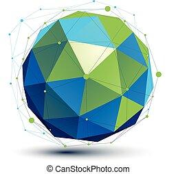 digital, spatial, turquesa, dimensional, vetorial, objeto, tecnologia