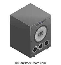 Digital speaker icon, isometric style