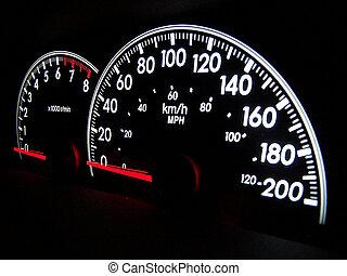 Digital speedometer glowing in the dark with tachometer ...