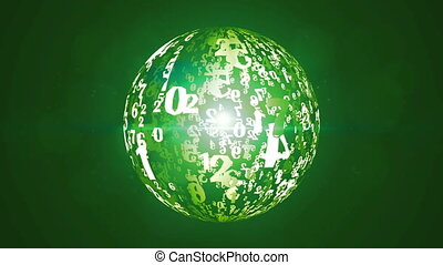 digital sphere rotating background animation.