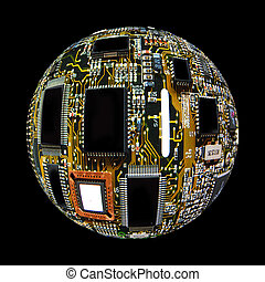 Digital Sphere - Sphereized Computer component board