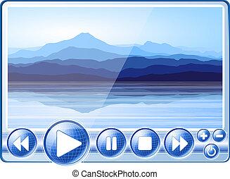 digital, spieler, mit, landschaftsbild