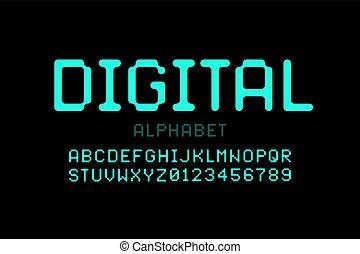 digital, stil, schriftart