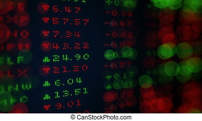 Digital Stock exchange panel shallow DOF loop