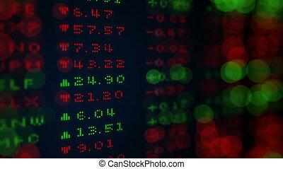 Digital Stock exchange panel shallow DOF loop