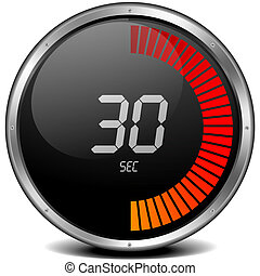 digital stop watch 30s - illustration of a metal framed...