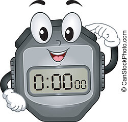 Digital Stopwatch Mascot