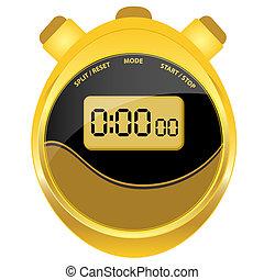 Digital stopwatch modern oval style - Digital stopwatch in...