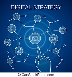digital strategy concept, blue background. internet, SEO, content marketing, mission icons
