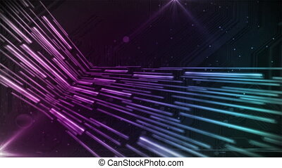 Digital Streams Purple Blue - Abstract bars move in 3d to...