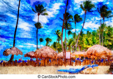 Digital structure of painting. Dominican beach - This image...
