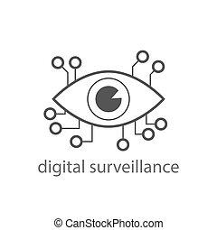 Digital surveillance icon. Digital eye sign. EPS 10.